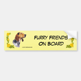 American English Coonhound and Yellow Roses Car Bumper Sticker