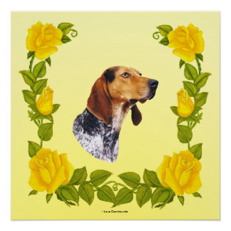 American English Coonhound and Yellow Roses Poster