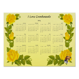 American English Coonhound and Yellow Roses Print