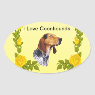 American English Coonhound and Yellow Roses Oval Stickers