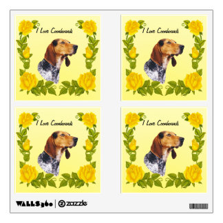 American English Coonhound and Yellow Roses Wall Decal