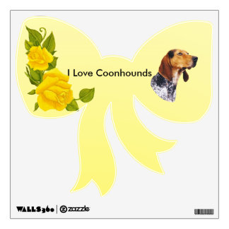 American English Coonhound and Yellow Roses Wall Sticker