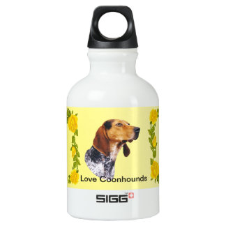 American English Coonhound and Yellow Roses Water Bottle