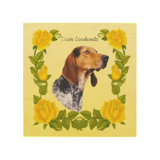 American English Coonhound and Yellow Roses Wood Print