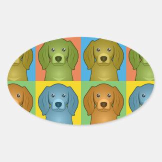 American English Coonhound Cartoon Pop-Art Oval Sticker