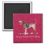 American English Coonhound Christmas 2 Inch Square Magnet