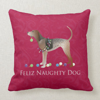 American English Coonhound Christmas Throw Pillow