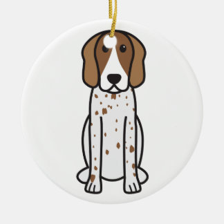 American English Coonhound Dog Cartoon Double-Sided Ceramic Round Christmas Ornament