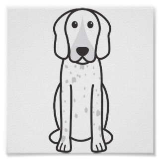 American English Coonhound Dog Cartoon Poster