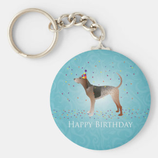 American English Coonhound Happy Birthday Design Keychain