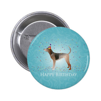 American English Coonhound Happy Birthday Design Pinback Button