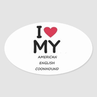american english coonhound love oval sticker