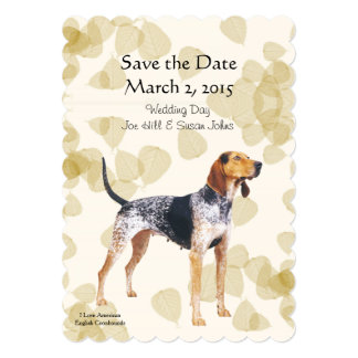 American English Coonhound with Tan Leaves Card