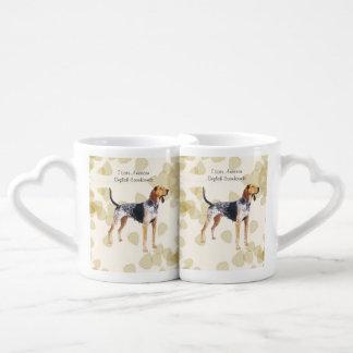 American English Coonhound with Tan Leaves Coffee Mug Set