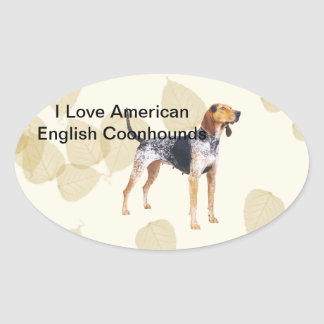 American English Coonhound with Tan Leaves Sticker