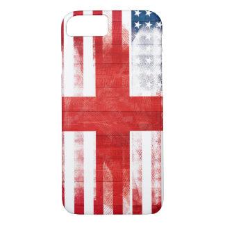 American English Flag   Wood Grain & Paintstrokes iPhone 8/7 Case