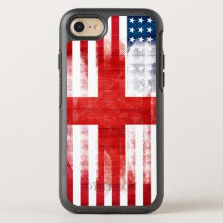 American English Flag | Wood Grain & Paintstrokes OtterBox Symmetry iPhone 7 Case