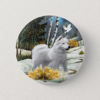 American Eskimo A Winter Scene cards Pinback Button