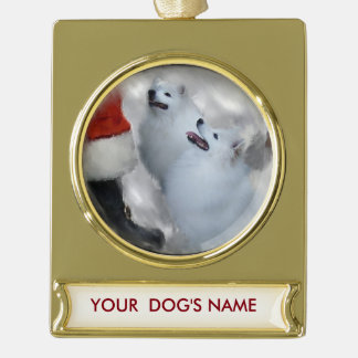 American Eskimo Christmas Gifts Personalized Gold Plated Banner Ornament