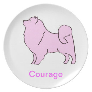 American Eskimo Courage Cancer Awareness Plate