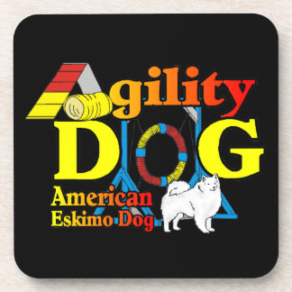 American Eskimo Dog Agility Beverage Coaster