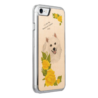 American Eskimo Dog and Yellow Roses Carved iPhone 7 Case