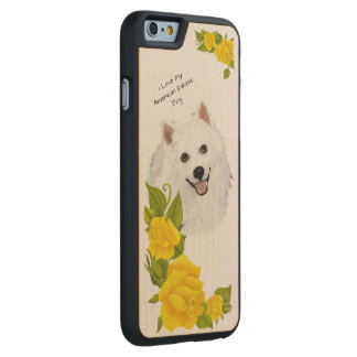 American Eskimo Dog and Yellow Roses Carved Maple iPhone 6 Case