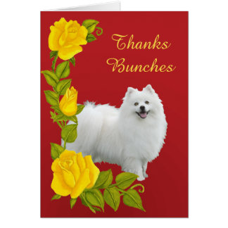 American Eskimo Dog and Yellow Roses Thanks Card