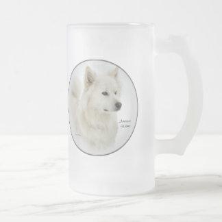 American Eskimo Dog Art Gifts Frosted Glass Beer Mug