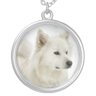 American Eskimo Dog Art Silver Plated Necklace