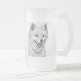American Eskimo Dog Artwork Frosted Glass Beer Mug