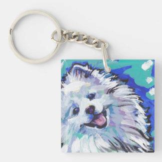 american eskimo dog Bright Colorful Pop Dog Art Keychain
