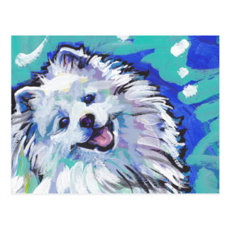 american eskimo dog Bright Colorful Pop Dog Art Postcard
