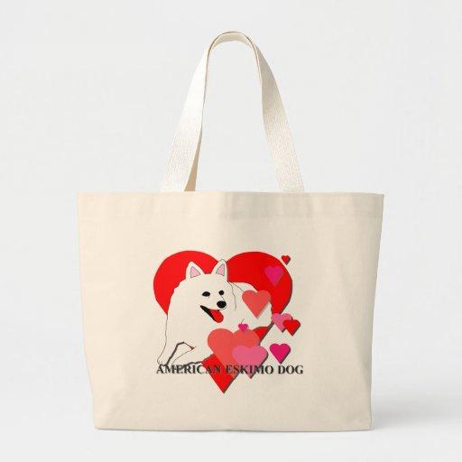American Eskimo Dog Cartoon Hearts Bag