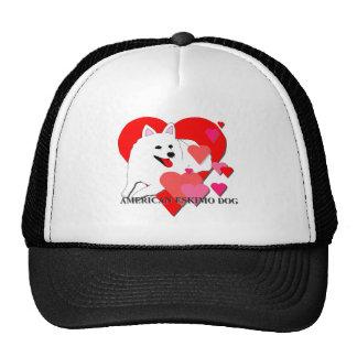 American Eskimo Dog Cartoon Hearts Trucker Hat