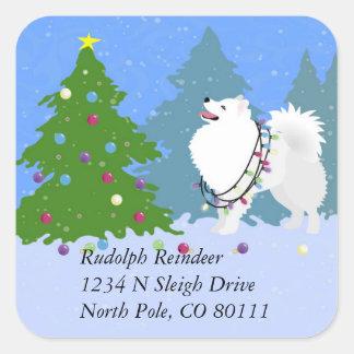 American Eskimo Dog Christmas Address Return Label