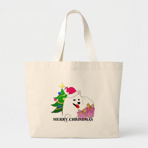 American Eskimo Dog Christmas Canvas Bags