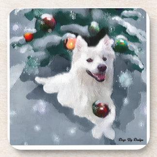 American Eskimo Dog Christmas Drink Coaster