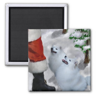 American Eskimo Dog Christmas Gifts 2 Inch Square Magnet