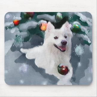 American Eskimo Dog Christmas Mouse Pads