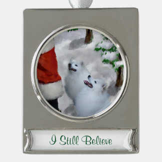 American Eskimo Dog Christmas Personalized Silver Plated Banner Ornament