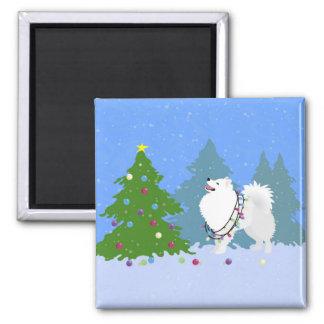 American Eskimo Dog Decorating Christmas Tree 2 Inch Square Magnet