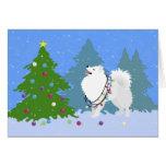 American Eskimo Dog Decorating Christmas Tree Greeting Card
