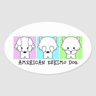 American Eskimo Dog Eskie Hear, See, Speak No Evil Oval Sticker
