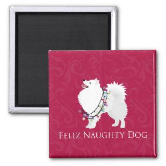American Eskimo Dog Feliz Naughty Dog Christmas 2 Inch Square Magnet