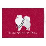 American Eskimo Dog Feliz Naughty Dog Christmas Greeting Card