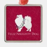 American Eskimo Dog Feliz Naughty Dog Christmas Metal Ornament