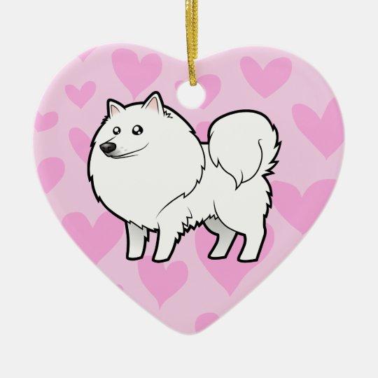 American Eskimo Dog / German Spitz Love Ceramic Ornament