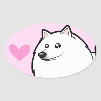 American Eskimo Dog / German Spitz Love Oval Sticker