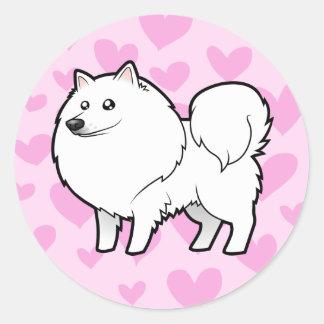 American Eskimo Dog / German Spitz Love Round Sticker